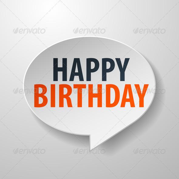 Happy Birthday 3d Speech Bubble