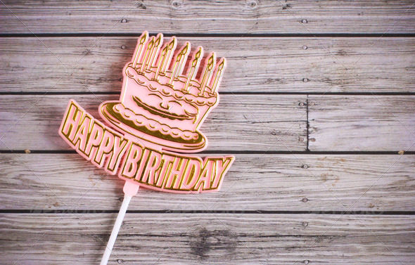 Happy Birthday on Wooden Background HD