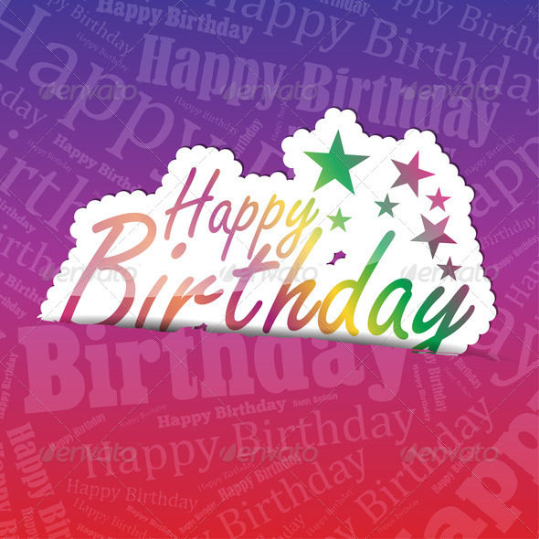 Happy Birthday (sticker) on a typography background