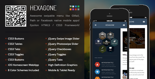 Hexagone Shaped Responsive Mobile Template