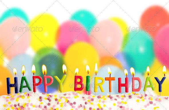 Isolated Happy Birthday Balloons Background