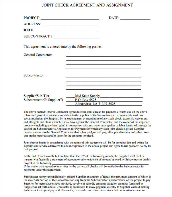 Joint Check Agreement Form - Mid-State Supply