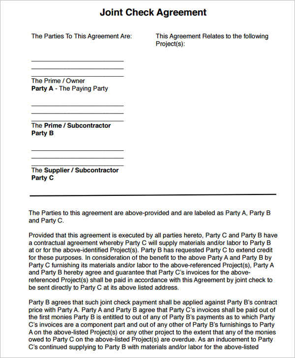 Joint Check Agreement Form pdf