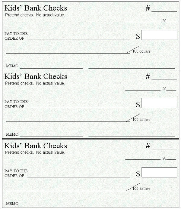 Kids bank check template
