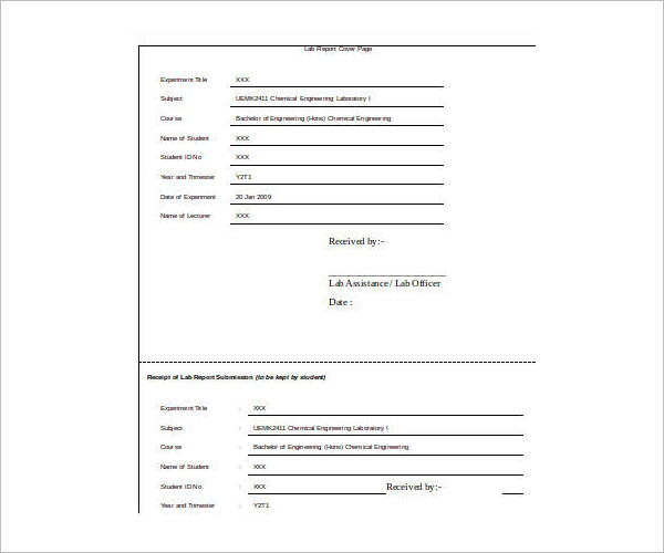Lab Cover Sheet Template Excel