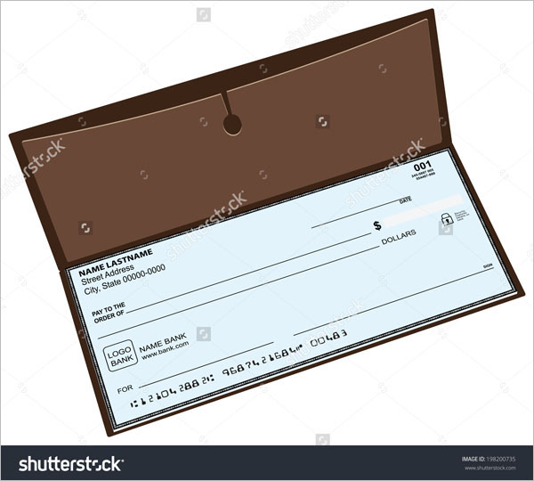 Leather checkbook with a pocket for storing copies of checks