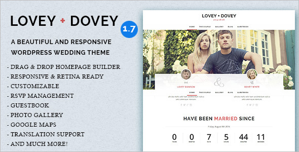 Lovey Wedding WordPress Template