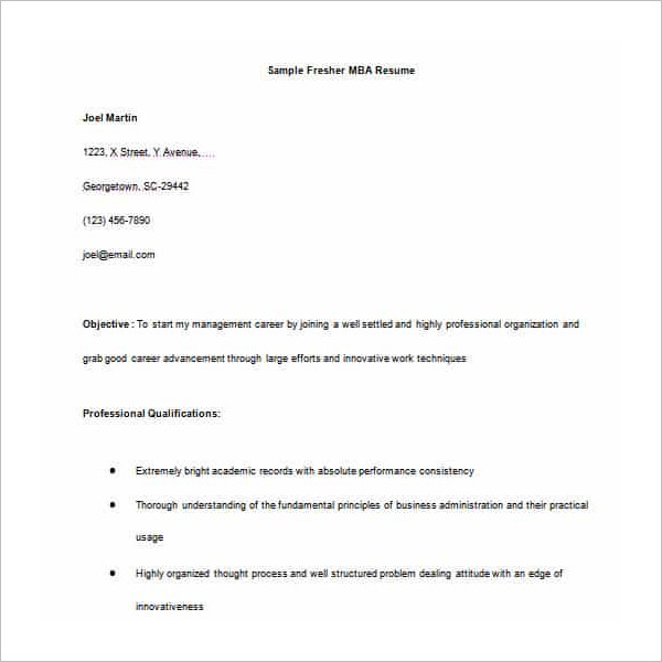 MBA Resume Word Template PDF