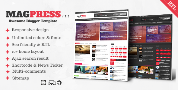 Magpress Magazine Responsive Blogger Template