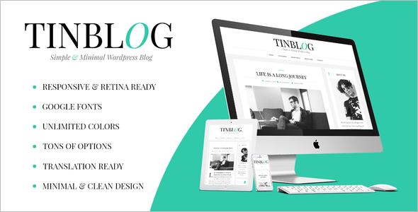 Minimal One Coloumn WordPress Template