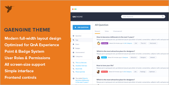 Miscellaneous Question & Answer WordPress Theme