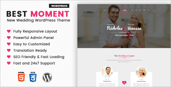 Modern Wedding WordPress Template