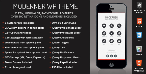 One Page Column Mobile WordPress Template
