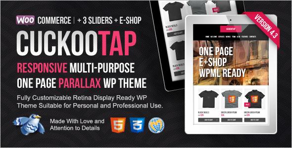 OnePage Parallax E-Shop WordPress Template