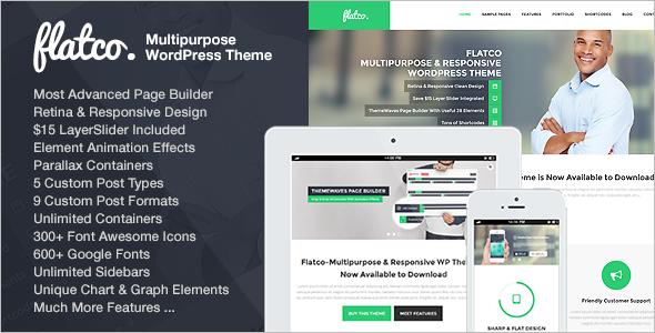 OnePage Parallax Flat WordPress Template
