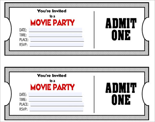 PDF Printable Movie Ticket Party Invitations