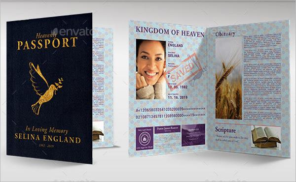 Passport Funeral Program Template