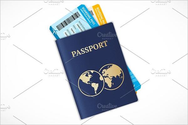 Passport With Ticket Design