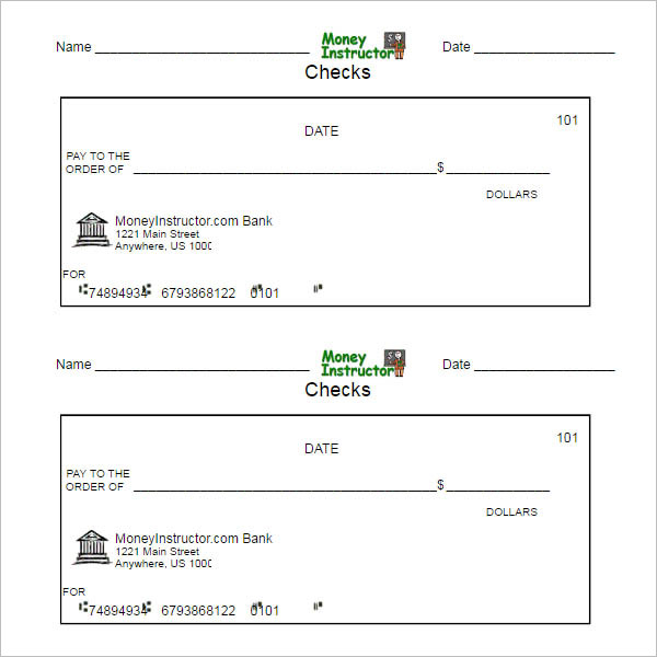 blank printable checks - Khafre