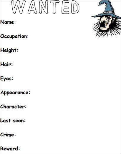 Printable Man Wanted Poster Template KS1 PDF Download