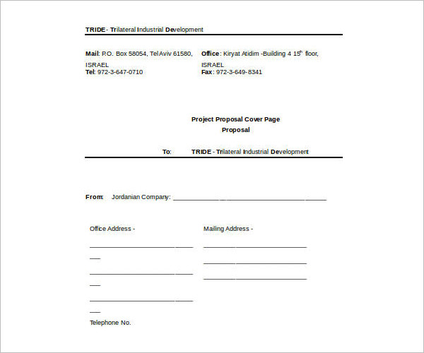 Project Cover Sheet Template Excel