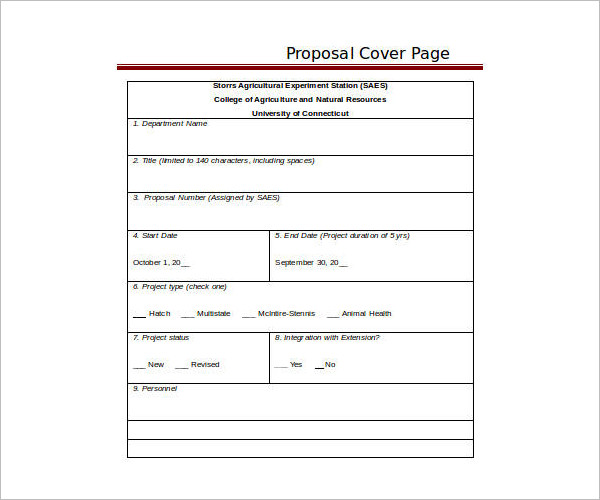 Proposal Cover Page Template Page