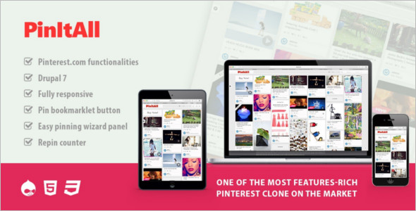 Reactive Drupal Pinterest Clone Theme