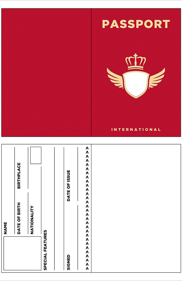 Red Passport Template  Free Passport Template For Kids