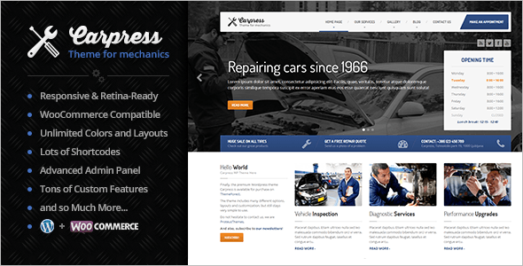 Repairing Car Business WordPress Template
