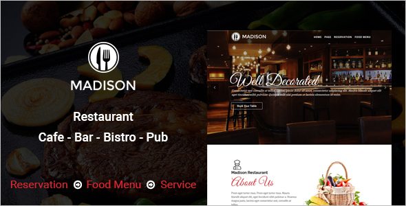 Restaurants & Cafes WordPress Template