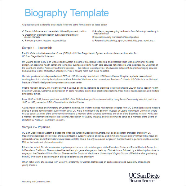 Resume Biography Template PDF