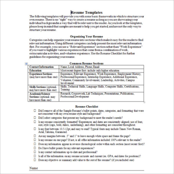 Resume Word PDF Template Form