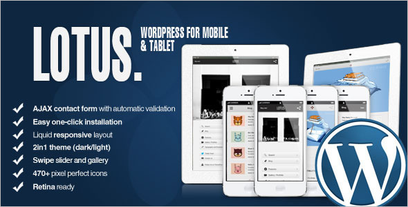 Retina Mobile Friendly WordPress Template