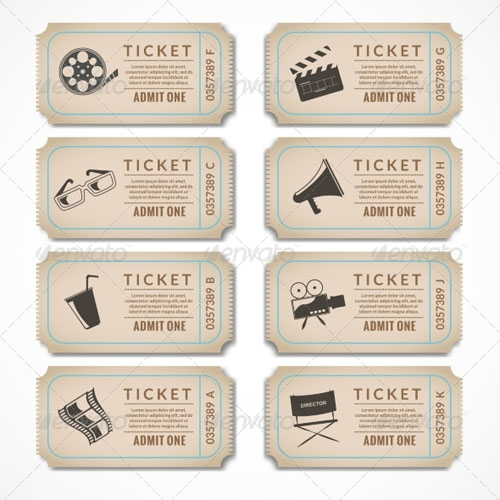 Retro Cinema Tickets Editable EPS