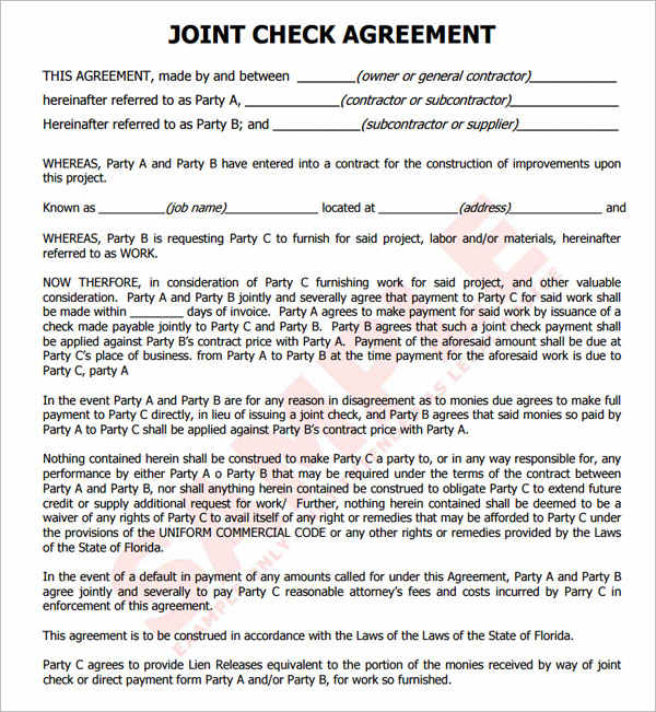 SAMPLE-Joint Check Agreement - Builders Notice
