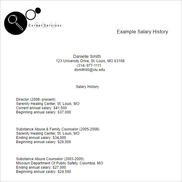 Salary History Example Resume Template