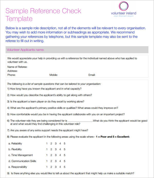 Sample Reference Check Template PDF