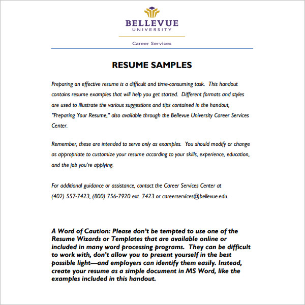 sample resume word template