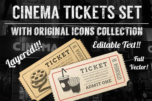 Set of Eight Cinema Tickets Templates