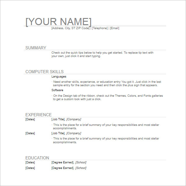 Simple General Resume Template