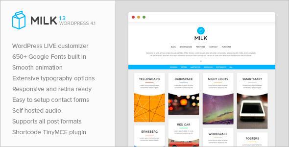 Simple Masonry Milk WordPress Template
