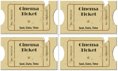 Simple Movie Ticket Template Word