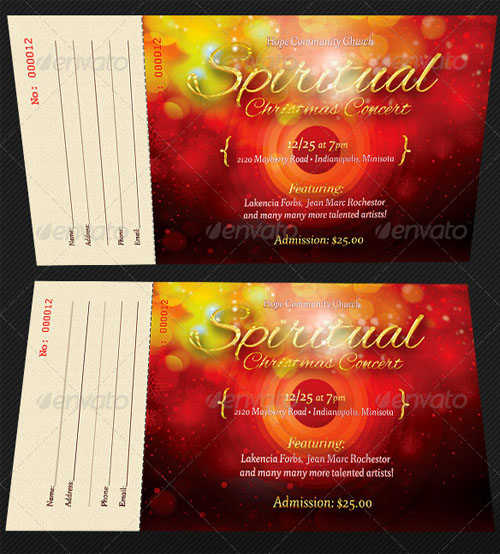 Spiritual Concert Ticket Template