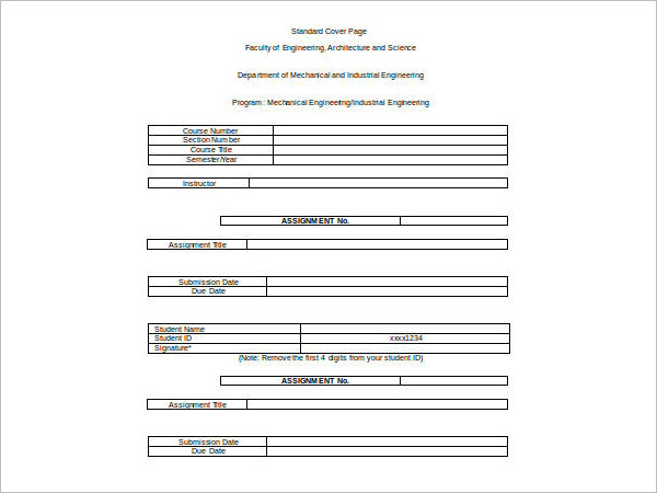 Standared Cover Sheet Excel Template
