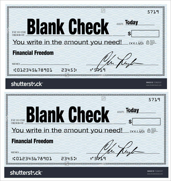 The words Blank Check representing financial freedom