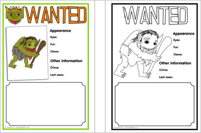 Troll wanted poster writing frames