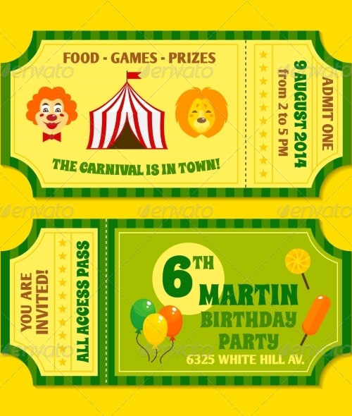 Two Vintage Circus Tickets Template