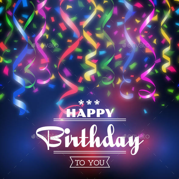 Typographic happy birthday background