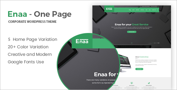 Variation One Page WordPress Template