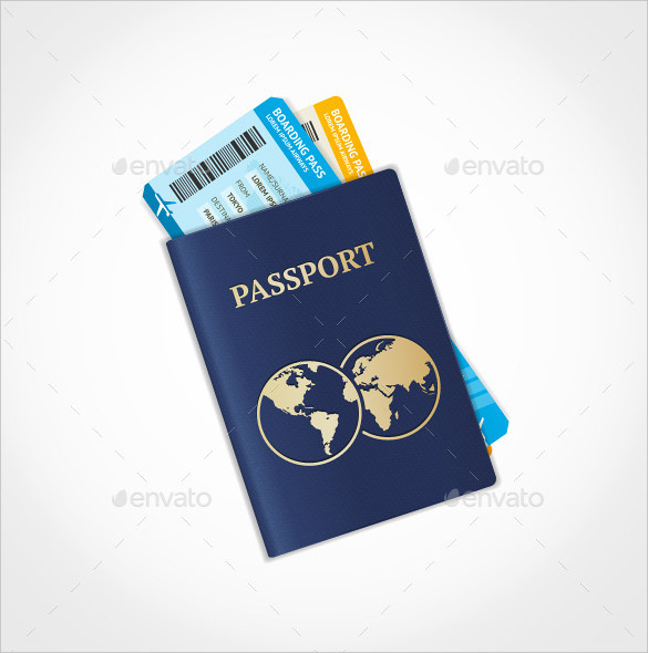 Vector Illustration Passport with Ticket Template Download